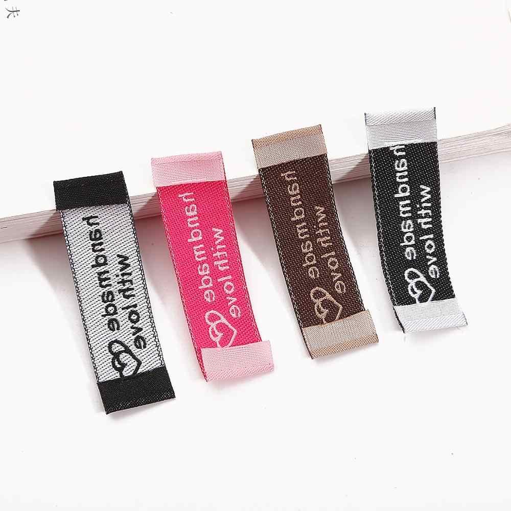 20 개/몫 50x15mm 브라운/화이트/블랙/자홍색 수제 라벨 헝겊 의류 라벨 인쇄 라벨 diy 봉제 공예 액세서리