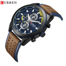 цены CURREN Fashion Military Quartz Wristwatch Genuine Leather Waterproof Watches Calendar Business Mens Chronograph Clock Wristwatch