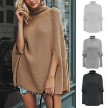цена на Fashion Women Casual Solid Turtleneck Knitted Half Sleeve Pullover Sweater Top Batwing Sleeve Clothes Cloak Sweater
