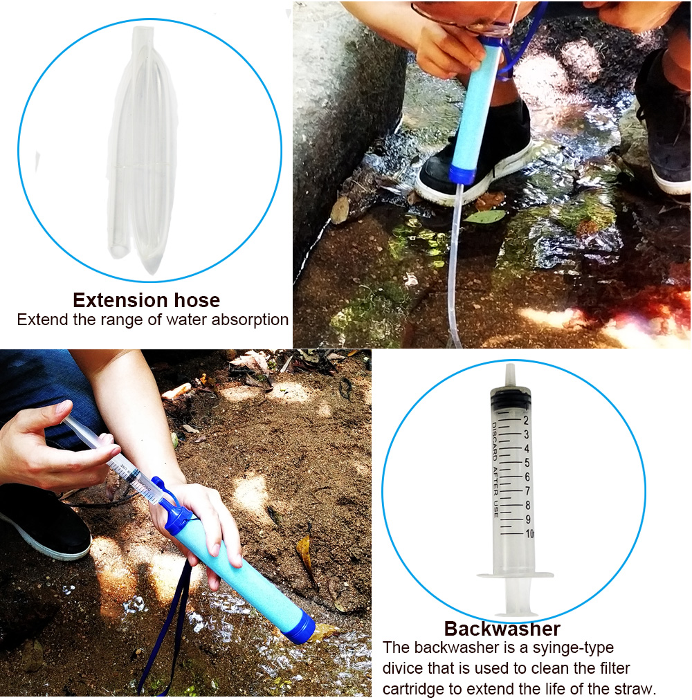 Outdoor Water Purifier Camping Hiking Emergency Life Survival Portable PurifierTravel Wild drink Ultrafiltration  Water Filter 5