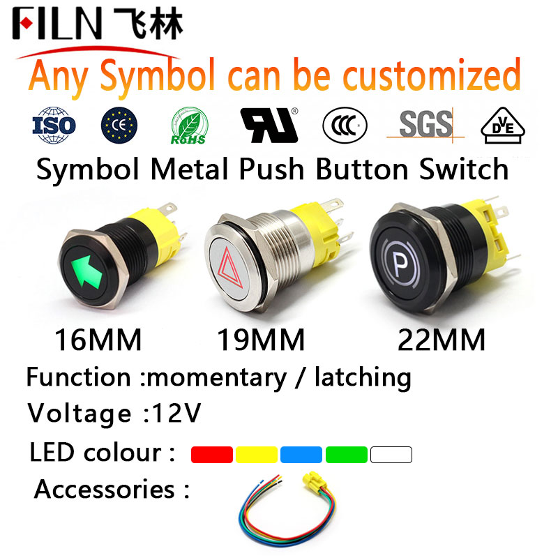 FILN 16mm 19mm 22mm 12v LED 1NO1NC Metal Push Button Switch Dashboard Custom Symbol Momentary Latching On Off Car Racing Switch