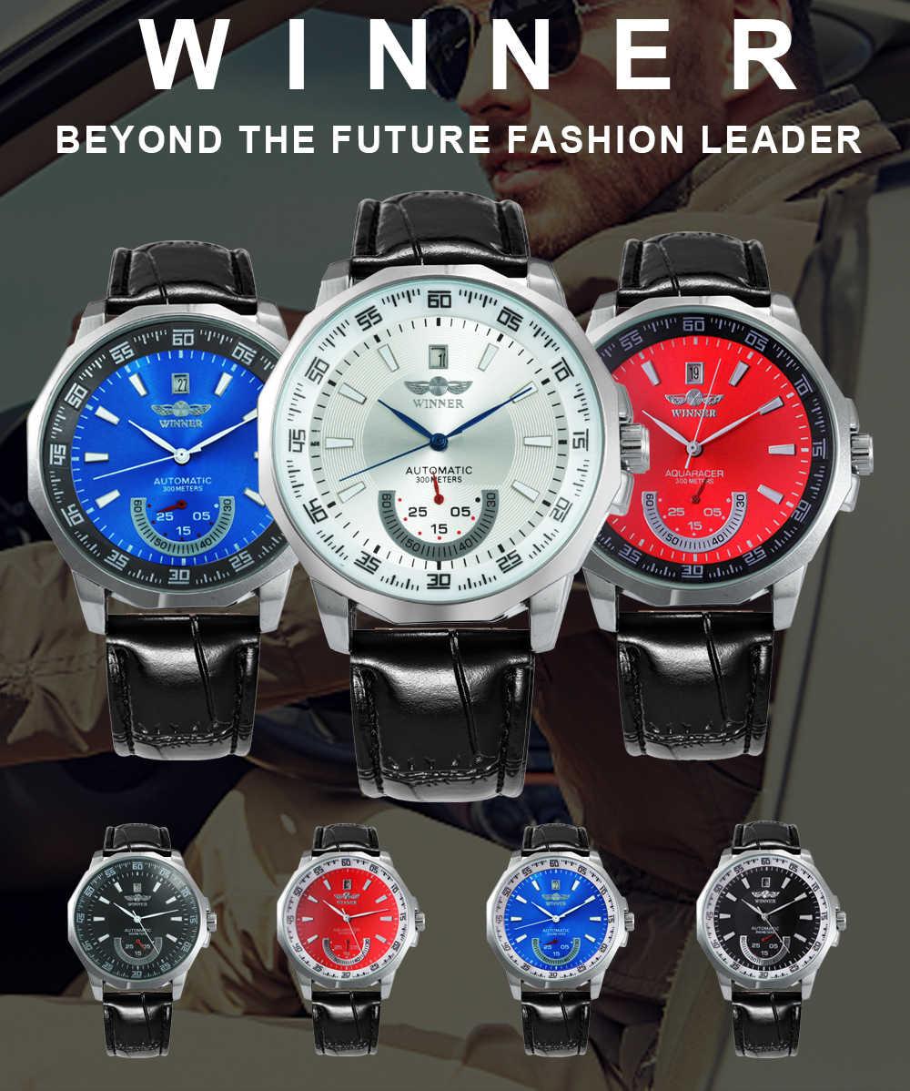 勝者公式軍事スポーツ腕時計メンズ自動機械式サブダイヤルカレンダー革腕時計トップブランドの高級