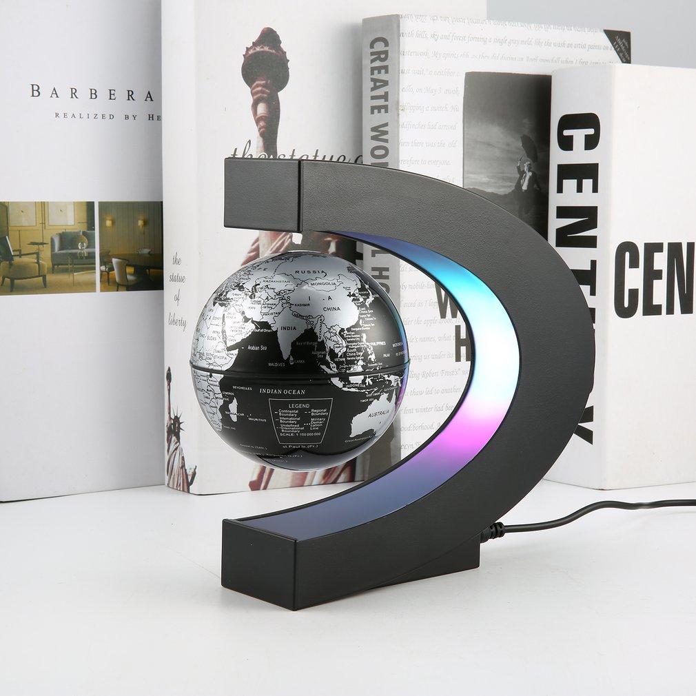 C Shape LED World Map Floating Globe Magnetic Levitation Light Antigravity Magnetive Ball Light Xmas Birthday Home Decor US Plug