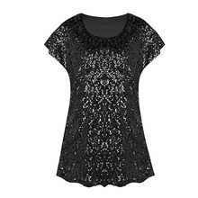 Fashion Summer Sequin Top Shimmer Glitter Loose Tops Women's Bat Sleeve Party Tunic Clothing Woman T-shirt Female ropa mujer(China)