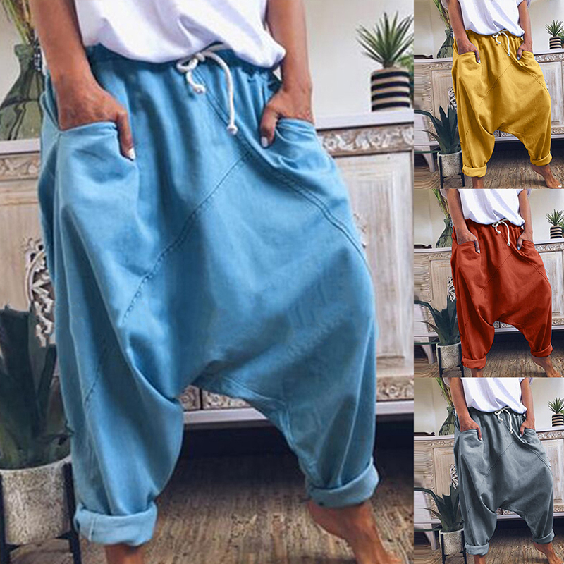 Women Harem Pants Trousers Boho Mid Waist Pants Women Solid Check Pants Baggy Wide Leg Casual Capris 2020