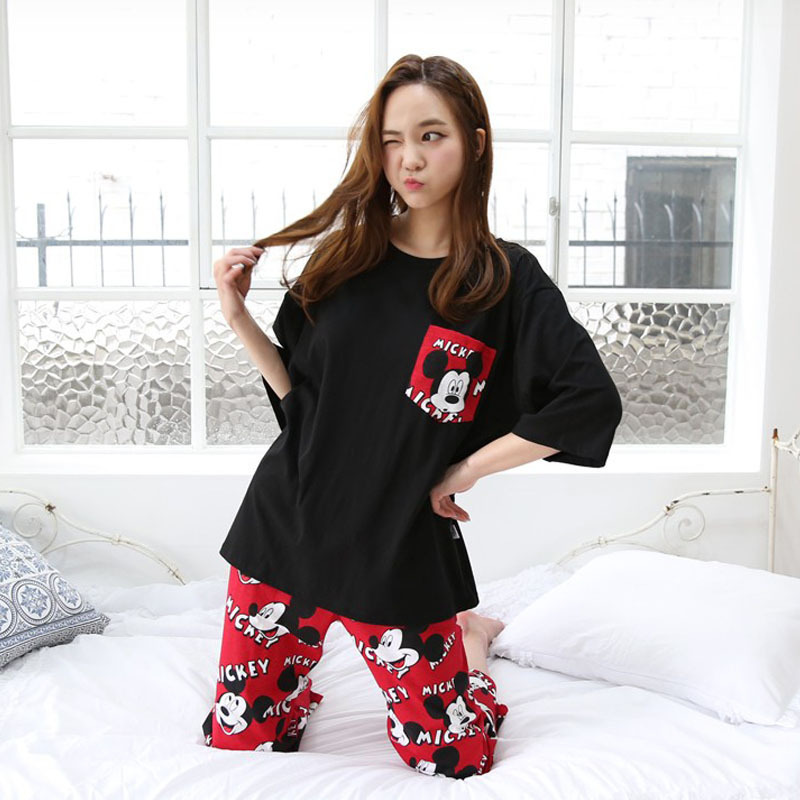 2019 Casual Summer WOMEN'S Red Cartoon Mickey Pajamas Three-quarter-length Sleeve Capri Pants Homewear Set