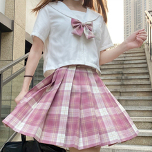 JK Uniform Japanese Soft Sister College Style Student White Shirt + High Waist Pleated Plaid Skirt Two-Piece Female Summer