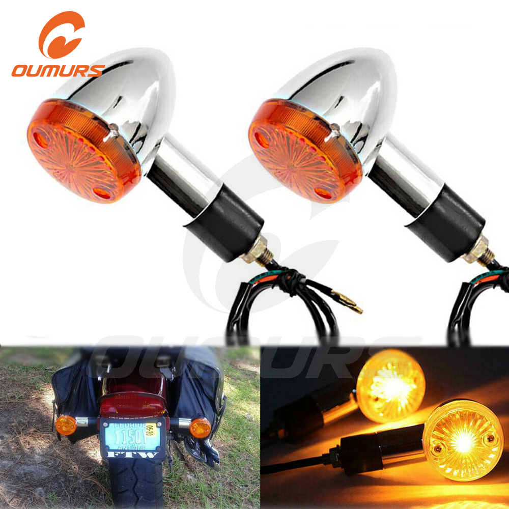 OUMURS 2pcs/Set LED Bullet Motorcycle Turn Signal Light Indicators Blinkers Amber Yellow Lamp Universal For Yamaha Honda Suzuki