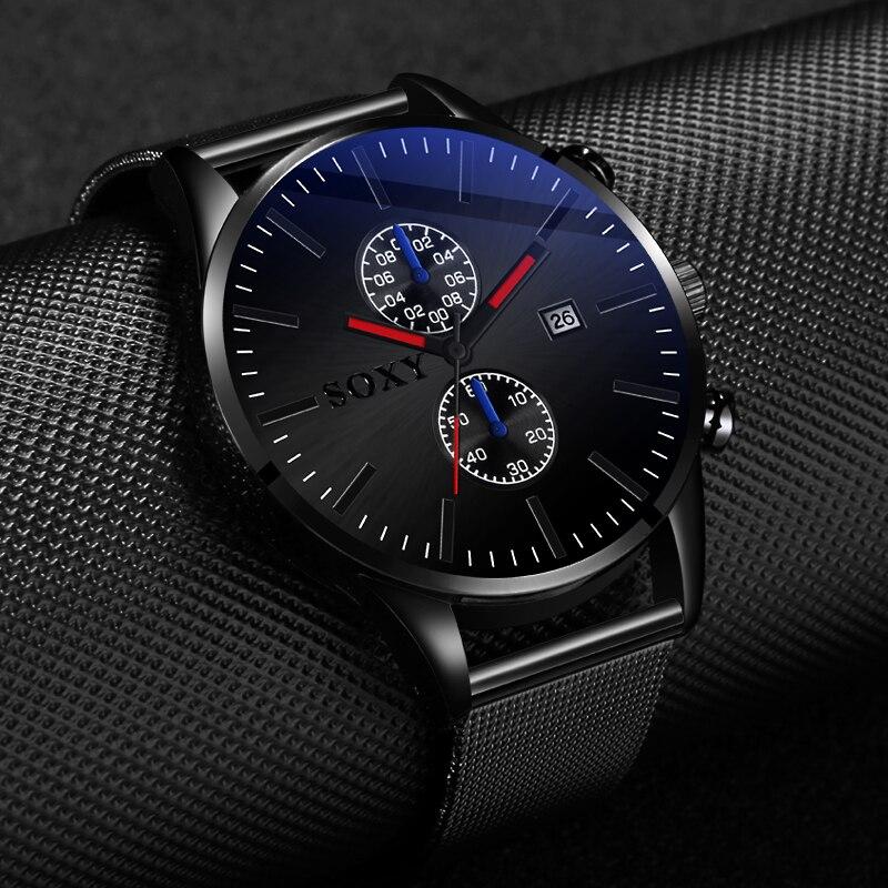 Men Steel Watch Latest Design Black Relojes Stainless Steel Watch Mens Hombre Chrono Quartz Watches Pulseira Masculina Clock