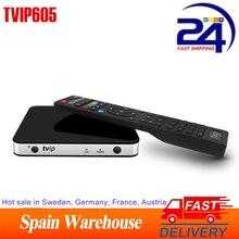 حار TVP 605 مربع التلفزيون الذكية 2.4GHZ واي فاي سوبر واضح لينكس 4.4 دعم H.265 1080P HD رباعية النواة TVIP605 مجموعة صندوق علوي vs TVIP 525 530