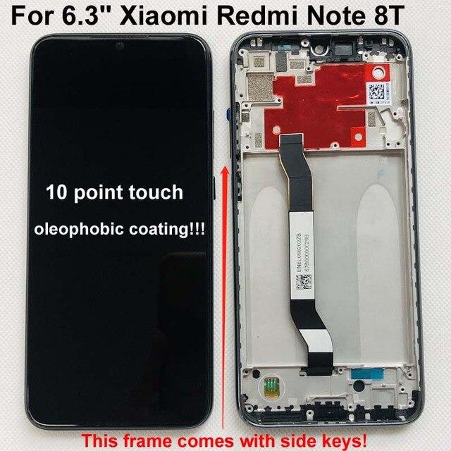 100% 새 원본 + 프레임 6.3 xiaomi Redmi 참고 8T LCD 디스플레이 화면 교체 LCD 터치 스크린 디지타이저 10 터치