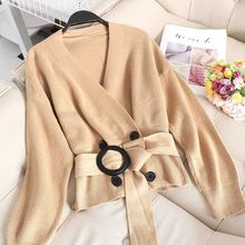 NiceMix Autumn Winter Elegant Short Women Sweaters Long Sleeves V Neck Sash Casual Loose Knitted Tops Button Cardigan Korea(China)