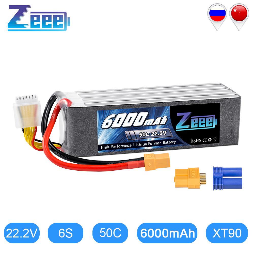 Zeee <font><b>Lipo</b></font> Battery <font><b>6000mAh</b></font> <font><b>6S</b></font> 22.2V 50C XT90 RC <font><b>Lipo</b></font> Battery with XT60 EC5 Plug for Drone Racing FPV Helicopter Car Boat Truck image