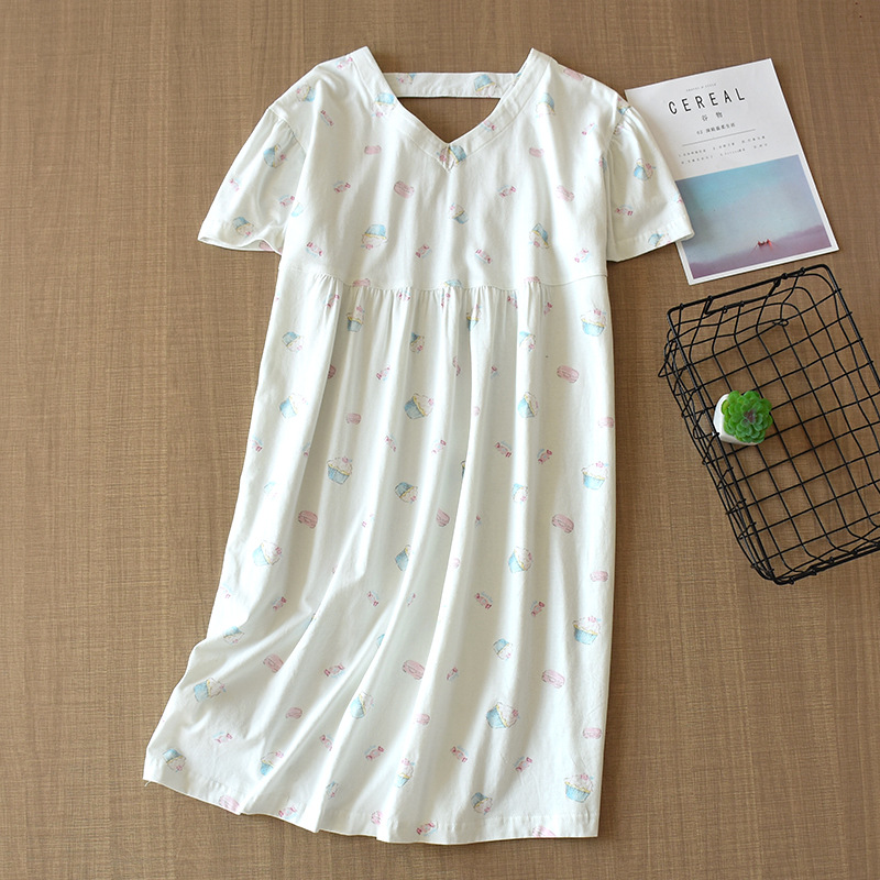 Women Summer Thin Cotton Nightgown Short-sleeved Sexy Sleepwear Cartoon V-Neck Sleep Dress Batas De Dormir Mujer Sleepshirts