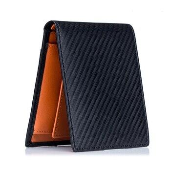 High Quality RFID Blocking Man Carbon Fiber Thin Wallets Microfiber Slim Bank Credit Card Holder For Male Simple Short Purse 1