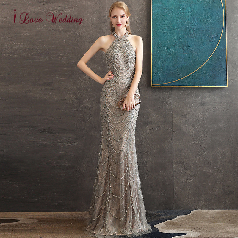 In Stock 2020 Formal Dresses Halter Diamond Beaded Sleeveless Champagne Lining Dresses Elegant Trumpet Evening Gown Long