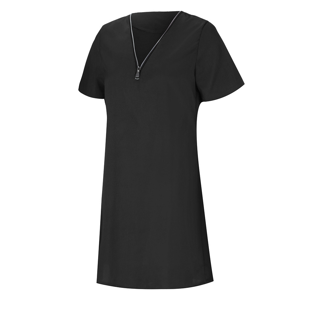 Hc1635bb164da4f5a93df7e55642719e9p Summer Women's Clothing Ladies' Short Sleeve V-Neck Zipper Solid Color Dress Casual Comfortable Tops Dress For Home Dress #BL0