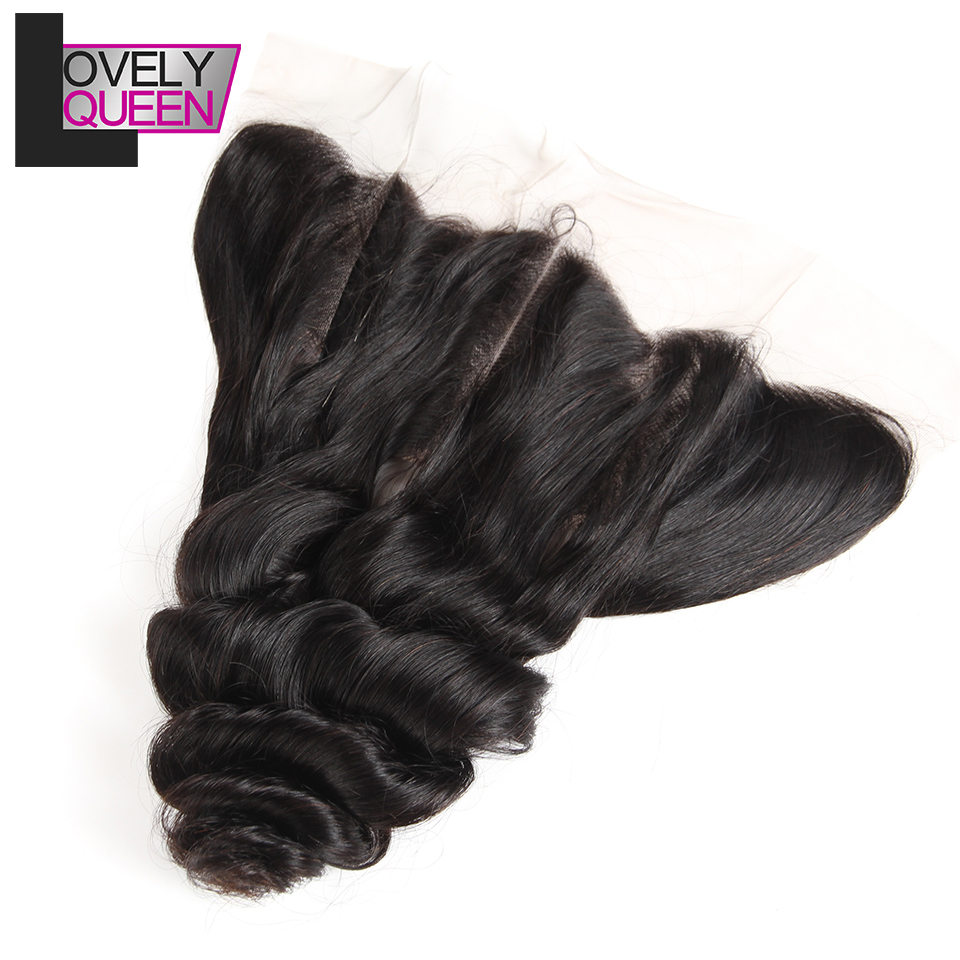 Lovely Queen Hair Peruvian Human Hair Loose Wave Lace Frontal 13 X4 Inch Natural Hairline Pre Plucked With Baby Hair