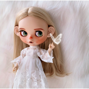 1/6 blyth doll toy bjd joint body white skin Gothic angel doll with  joint body gift makeup face naked doll with big ear
