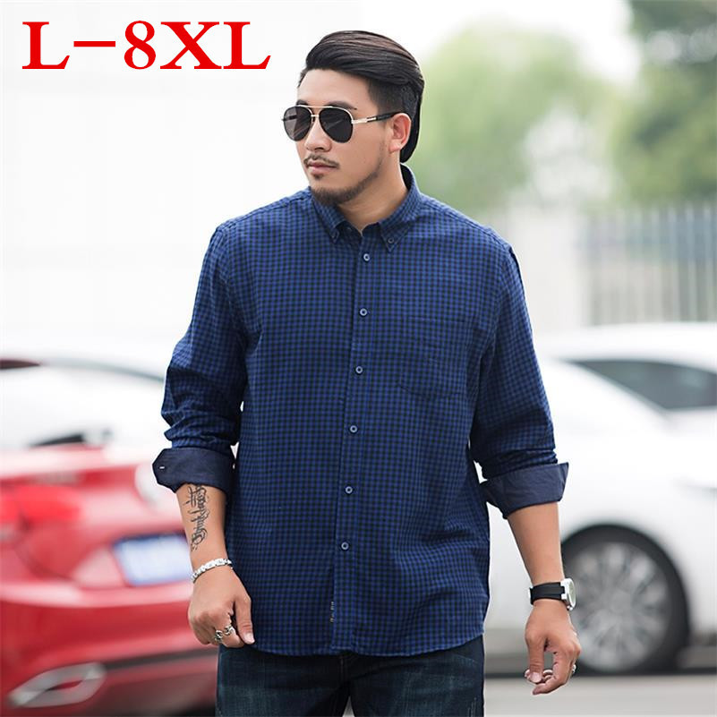 Plus Size 8XL 7XL Plaid Men's Shirt Long Sleeve Shirt Mens Dress Shirts Brand Casual Fashion Business Style Shirts 100% Cotton
