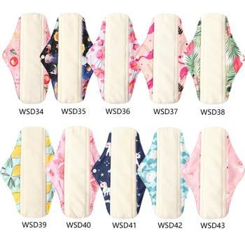 Моющаяся женская гигиеническая прокладка, менструальные прокладки для салфеток, бамбуковые подушечки для дня с древесным углем, женские прокладки с принтом фламинго, размер M
