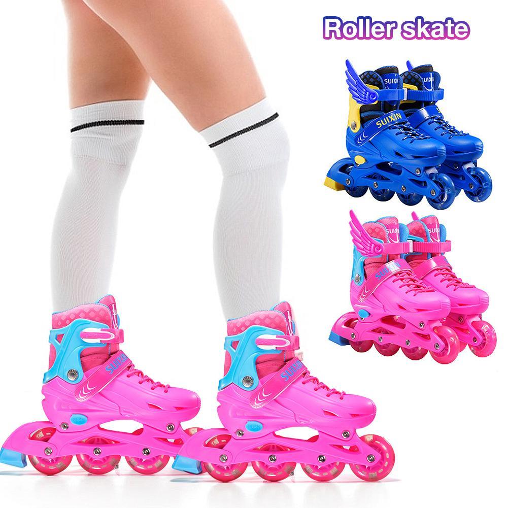 Удобные и дышащие коньки роликовые высокие эластичные полимерные наполнения Встроенные коньки с регулировкой четырех размеров для детей