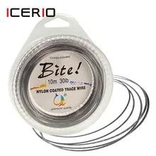 ICERIO 10m 부식 방지 나일론 코팅 7 가닥 스틸 위브 와이어 5lb ~ 200lb Rigs Jigging Lures 낚시 리더 라인