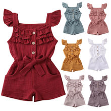 Pudcoco Cotton Linen Newborn Toddler Baby Girl Clothes Solid Romper Jumpsuit Playsuit Sunsuit Baby Summer Clothing 1-5Y