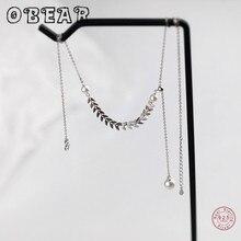 OBEAR Dainty Adjustable 100% 925 Sterling Silver Long Tassel Wheat Necklace For Women Pearl choker collares [meibapj] 925 sterling silver 4 items pearl leopard sets 100