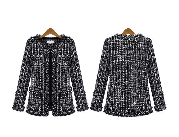 Autumn Winter Coat Women 2019 Plus Size Elegant Long Sleeve Plaid Jackets Female Vintage Oversize Tassel Tweed Wool Blends Black 61