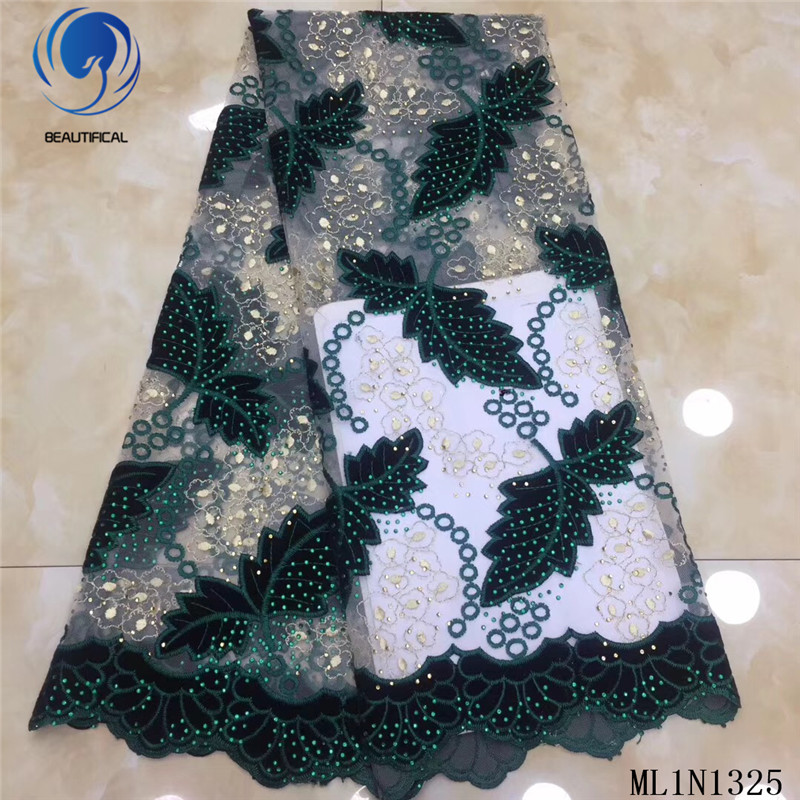 Beautifical afrikaanse kant stoffen 2019 Nieuwe gebladerte patroon Flanellen stoffen mix tule kant nigeriaanse stof met stenen ML1N1325 - 4