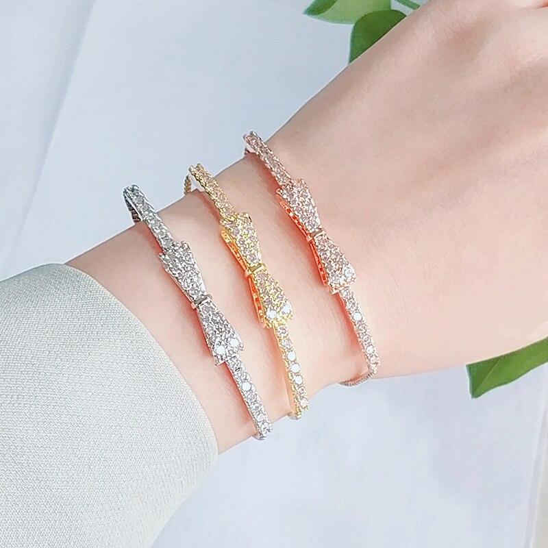 Uilz Vintage Bow Design White Cubic Zirconia Plated Adjustable Bracelets for Women Wedding Engagement Hand Accessories UBP2028