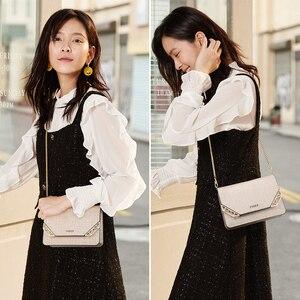 Image 2 - Женская сумка через плечо FOXER, черная сумка из воловьей кожи, с цепочкой и ремешком,