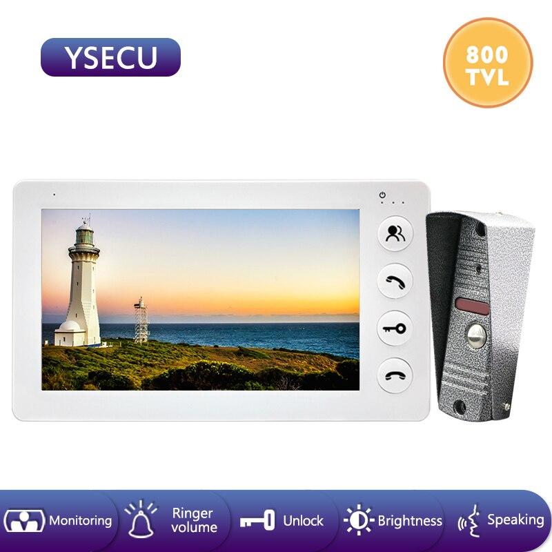 YSECU 7''Wired White Video Intercom Video Doorbell  Color LCD Monitor ,Built-in Power Supply ,Unlock Talking Video Door Phone