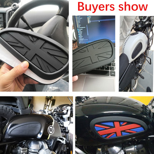 Image 5 - Motorrad Cafe Racer Gas Kraftstoff Tank Gummi Aufkleber Protector Mantel Knie Tank Pad Grip Aufkleber Die Union Jack Logo Universal retro