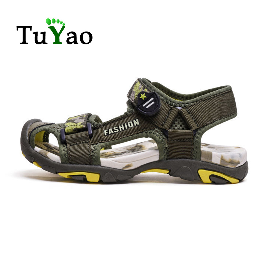 New Summer Children Beach Shoes Rubber Closed Toe Sport Sandals For Boys Eu Size 27-39