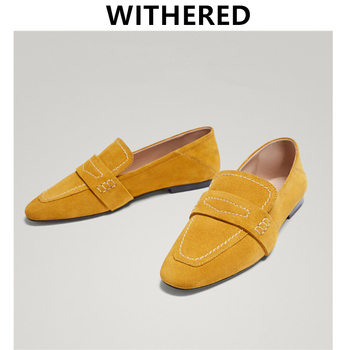 Withered 2020 ins blogger england simple Genuine leather moccasin slip-on loafers women shoes woman women shoes women flat shoes