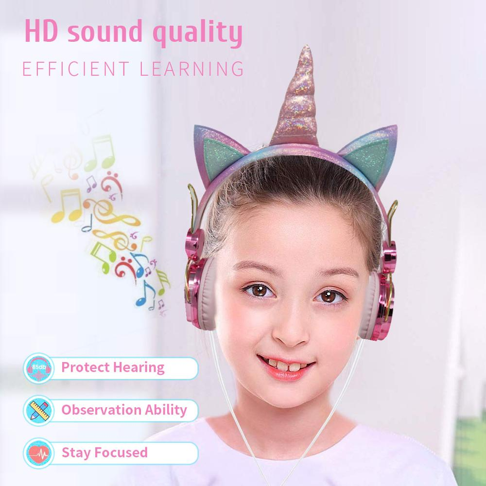 lowest price Cute Kids Girl Unicorn Headphone With Microphone Bling Bling Diamond Wired Headphones Mobile Phone Computer Gamer Headset Gifts