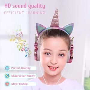 Image 4 - חמוד Unicorn Wired אוזניות עם מיקרופון בנות Daugther מוסיקה סטריאו אוזניות מחשב נייד טלפון גיימר אוזניות ילדי מתנה