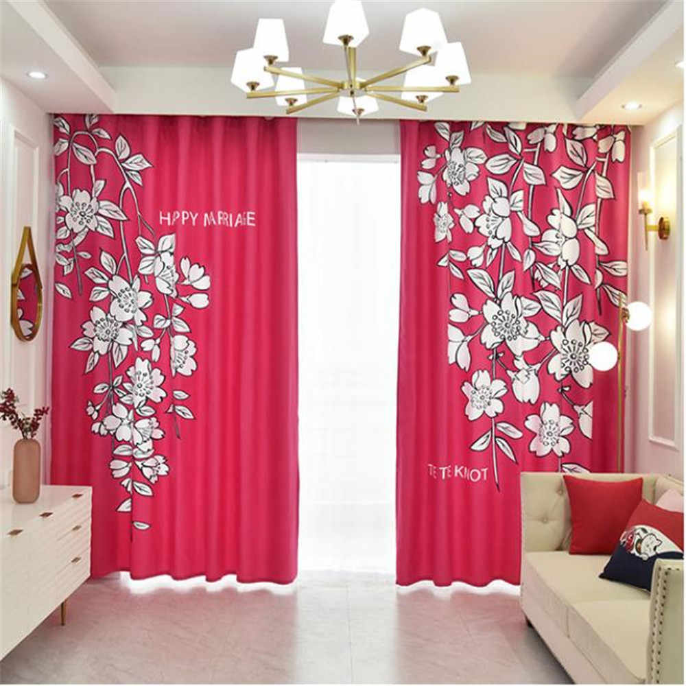 Modern Minimalist Wedding Curtain Red Curtains Cherry Blossom Printing Custom New Curtains Bedroom Thick Windshield 3d Curtains Curtains Aliexpress