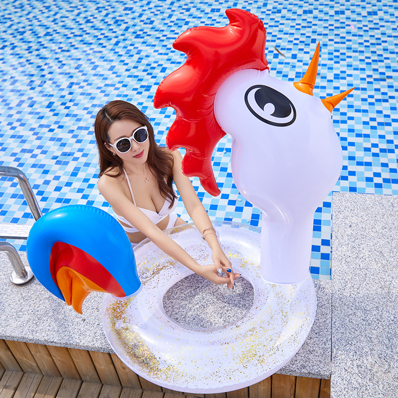 Giant Rooster Pool Float With Gold Rose Red Sequins Inside Animal Pool Tube Glitter Swim Ring Girls Beach Water Fun Party Toys
