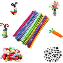 30/50/100 pçs multicor chenille hastes pipe cleaners artesanal diy arte artesanato material crianças criatividade artesanato crianças brinquedos
