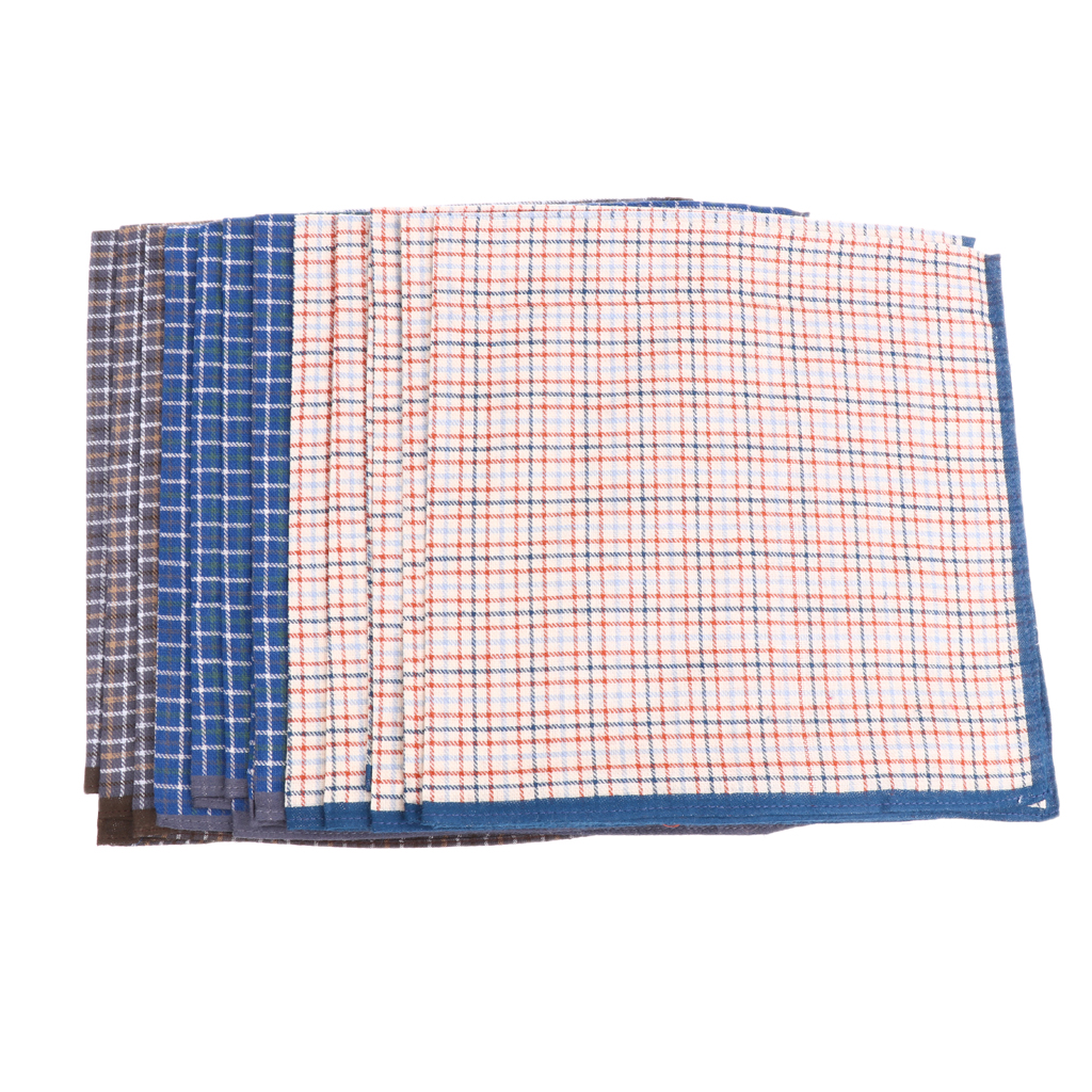 12pcs Assorted Fashion Handkerchief Men Woven Cotton 100% Square Hankies Lot 43 X 43 Cm