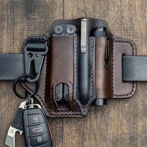 Leather Sheath Multitool Sheath EDC Pocket Organizer with Key Holder for Belt and Flashlight Outdoor Camping Hiking Tools