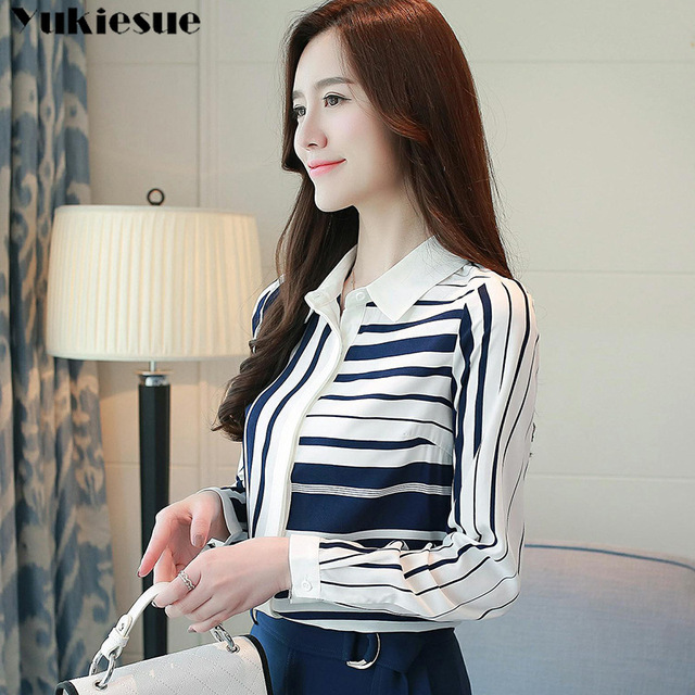 Classical Style Chiffon Blouse Fashion Women striped Long Sleeve Shirt Office Lady Women Tops Blusas Femininas Camisas Mujer 5
