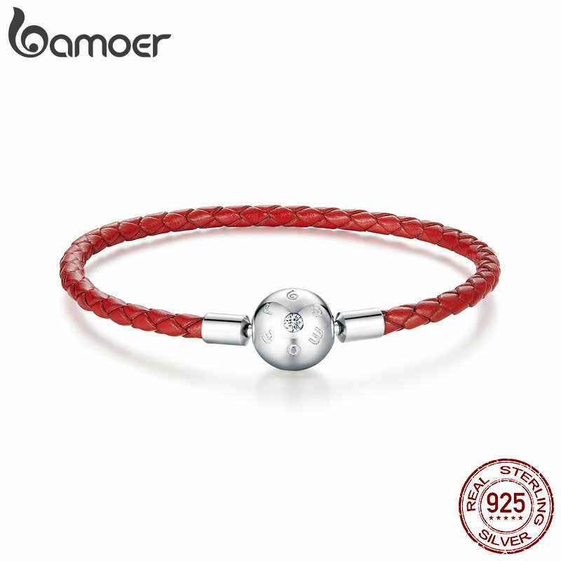 Bamoer Echt 925 Sterling Zilver Rood Leather Rope Charm Armband Voor Vrouwen Fit Voor 3 Mm Hole Charm Bead Sieraden BSB042
