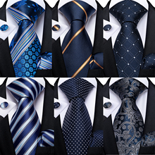 Necktie Handkerchief Ties Party-Tie-Set Classic Wedding Dibangu Blue Gravatas Business