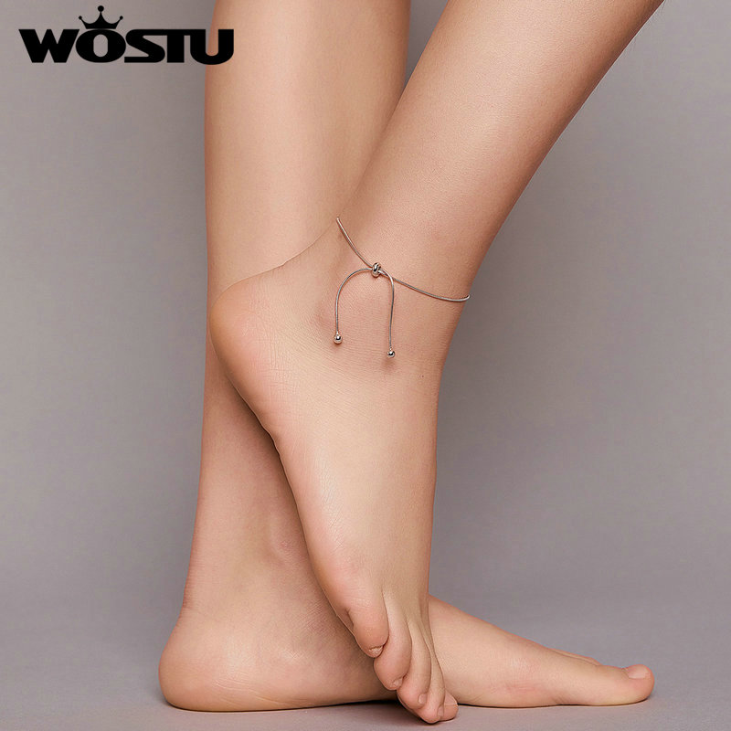 Wostu Anklet 100% 925 Sterling Silver Adjustable Snake Charm Anklet for Women Foot Jewelry Gift Fashion Jewelry FIT016