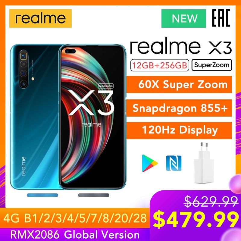Realme X3 SuperZoom wersja globalna 12GB 256GB 60X Super Zoom Snapdragon 855 + 120Hz wyświetlacz 64MP Quad Camera UFS 3.0 30W ładowarka