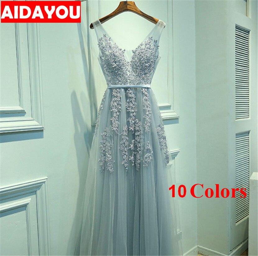 Robes pour femmes formel col en v sans manches élégant broderie longue bal soirée longue robe OUC2411a